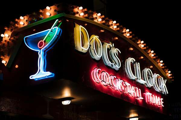 Doc's Clock's classic neon sign photographed in San Francisco, Calif., on Tuesday, Sept. 18, 2018.
