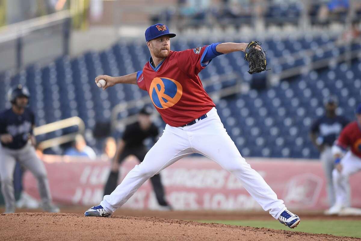 RockHounds pitcher Logan Shore throws against Corpus Christi June 15, 2018, at Security Bank Ballpark. James Durbin/Reporter-Telegram