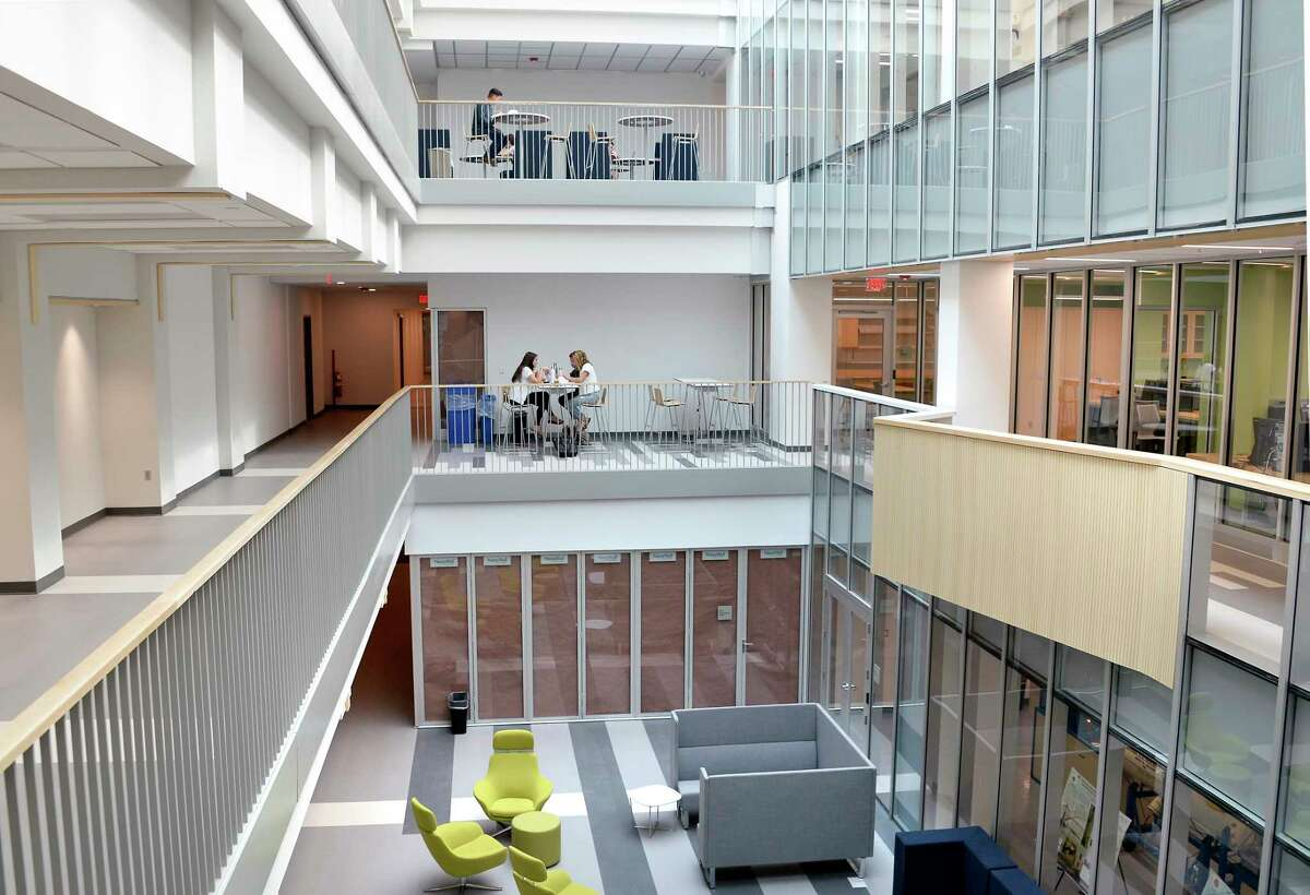 The atrium inside Union College's new Ainlay Hall, now open to students Wednesday Sept. 19, 2018 in Schenectady, NY. (John Carl D'Annibale/Times Union)