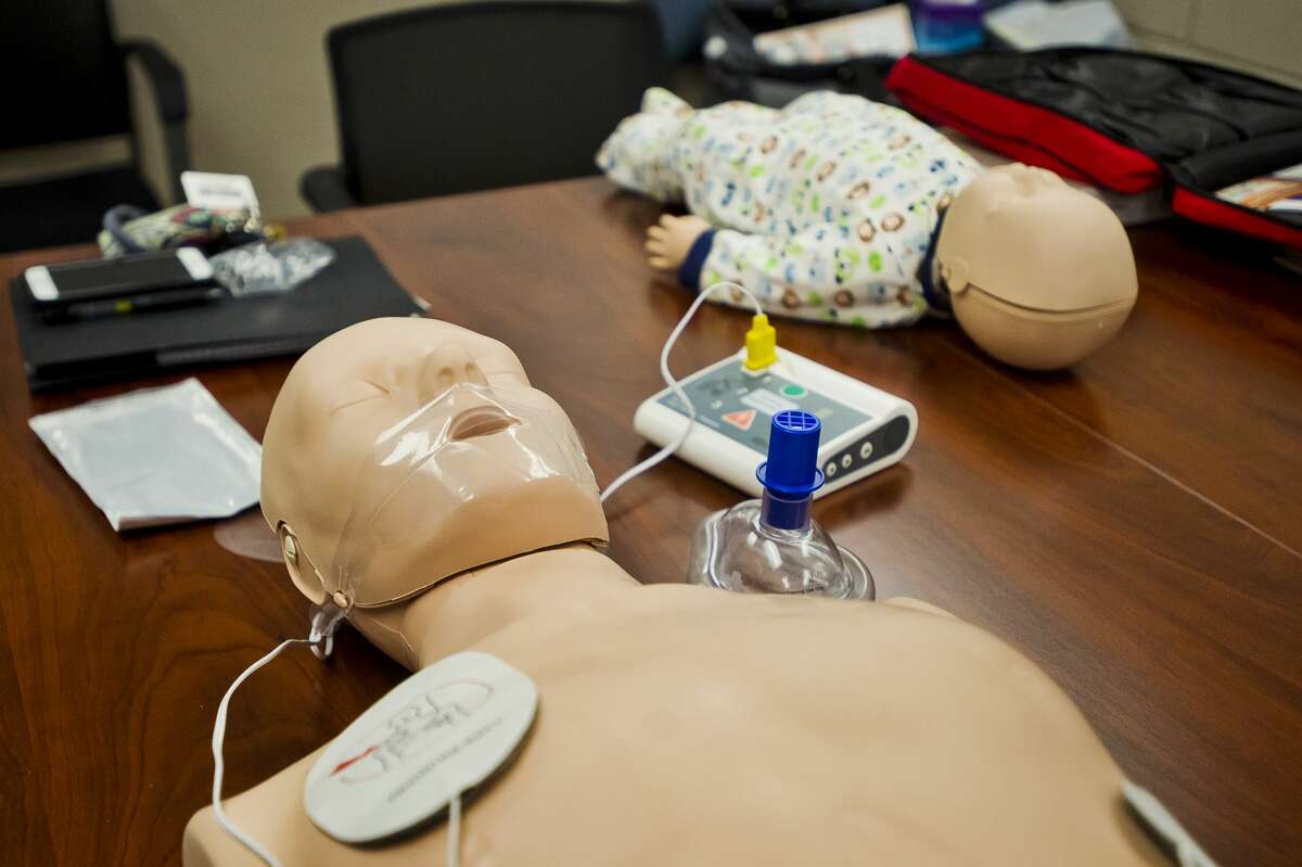 Equipment lies on a table during a CPR training session on Wednesday, Sept. 19, 2018 at Independent Community Living. (Katy Kildee/kkildee@mdn.net)