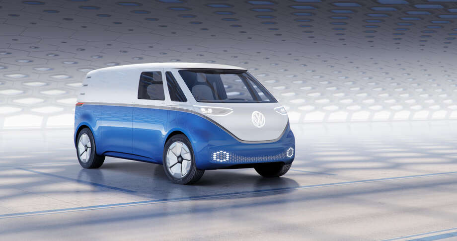 The Volkswagen I.D. Buzz Cargo is the hard-working cousin of last year's I.D. Buzz passenger van concept, and it looks awesome. Photo: Volkswagen