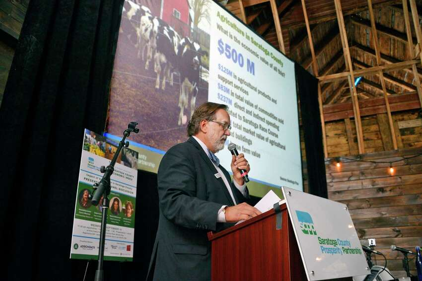 Saratoga Partnership President Marty Vanags unveils the first-ever Saratoga County Agricultural Index during a luncheon at the Ellms Family Farm Wednesday Sept. 19, 2018 in Ballston, NY. (John Carl D'Annibale/Times Union)