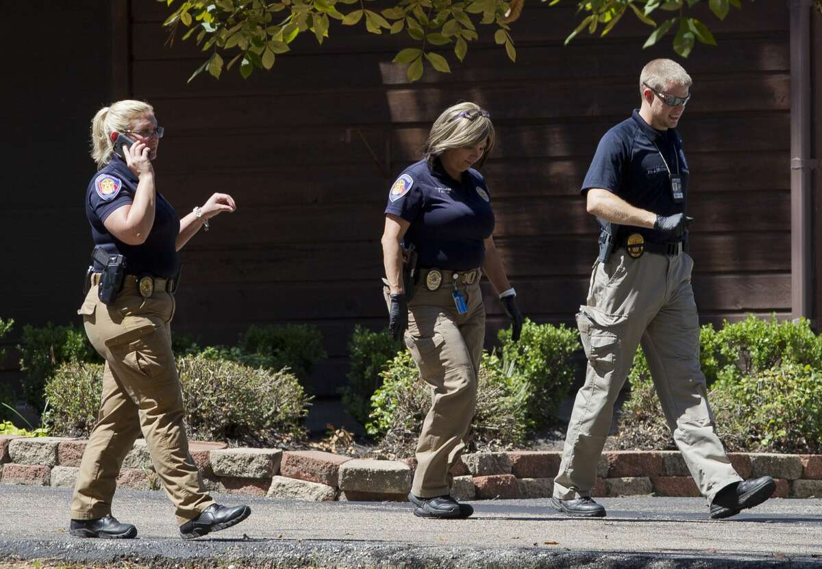Investigators work the scene of raid at the Shalom Center in connection with the arrest of Manuel La Rosa-Lopez, a former priest at Conroe?•s Sacred Heart Catholic Church, Wednesday, Sept. 19, 2018, in Splendora. La Rosa-Lopez has been charged with four counts of indecency with a child allegedly almost 20 years ago. Rosa-Lopez was released from the Montgomery County Jail on $225,000 bond on September 13.