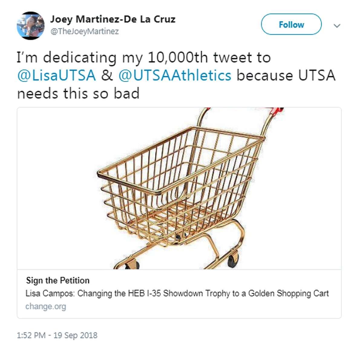 @TheJoeyMartinez: I'm dedicating my 10,000th tweet to @LisaUTSA & @UTSAAthletics because UTSA needs this so bad