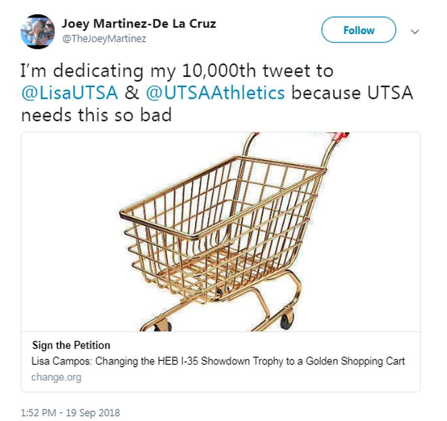@TheJoeyMartinez: I'm dedicating my 10,000th tweet to @LisaUTSA & @UTSAAthletics because UTSA needs this so bad Photo: Twitter Screengrabs