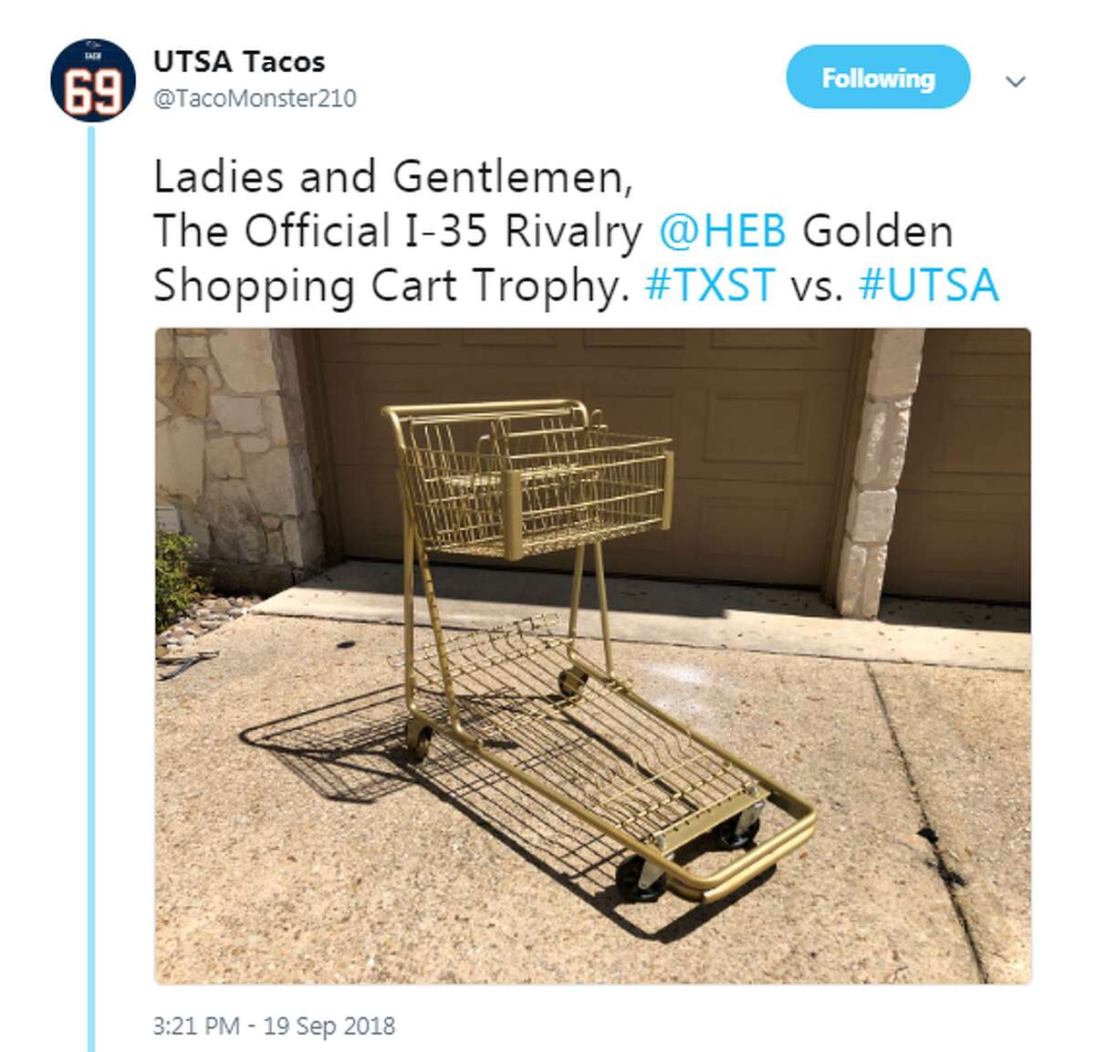 @TacoMonster210: Ladies and Gentlemen, The Official I-35 Rivalry @HEB Golden Shopping Cart Trophy. #TXST vs. #UTSA