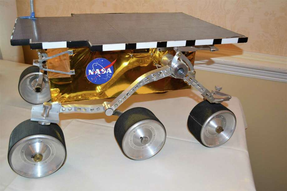 A full-scale model of NASA'S Mars rover, Sojourner, which was the first robot to explore the planet. It was launched in 1997. Photo: Leslie Hutchison / Hearst Connecticut Media