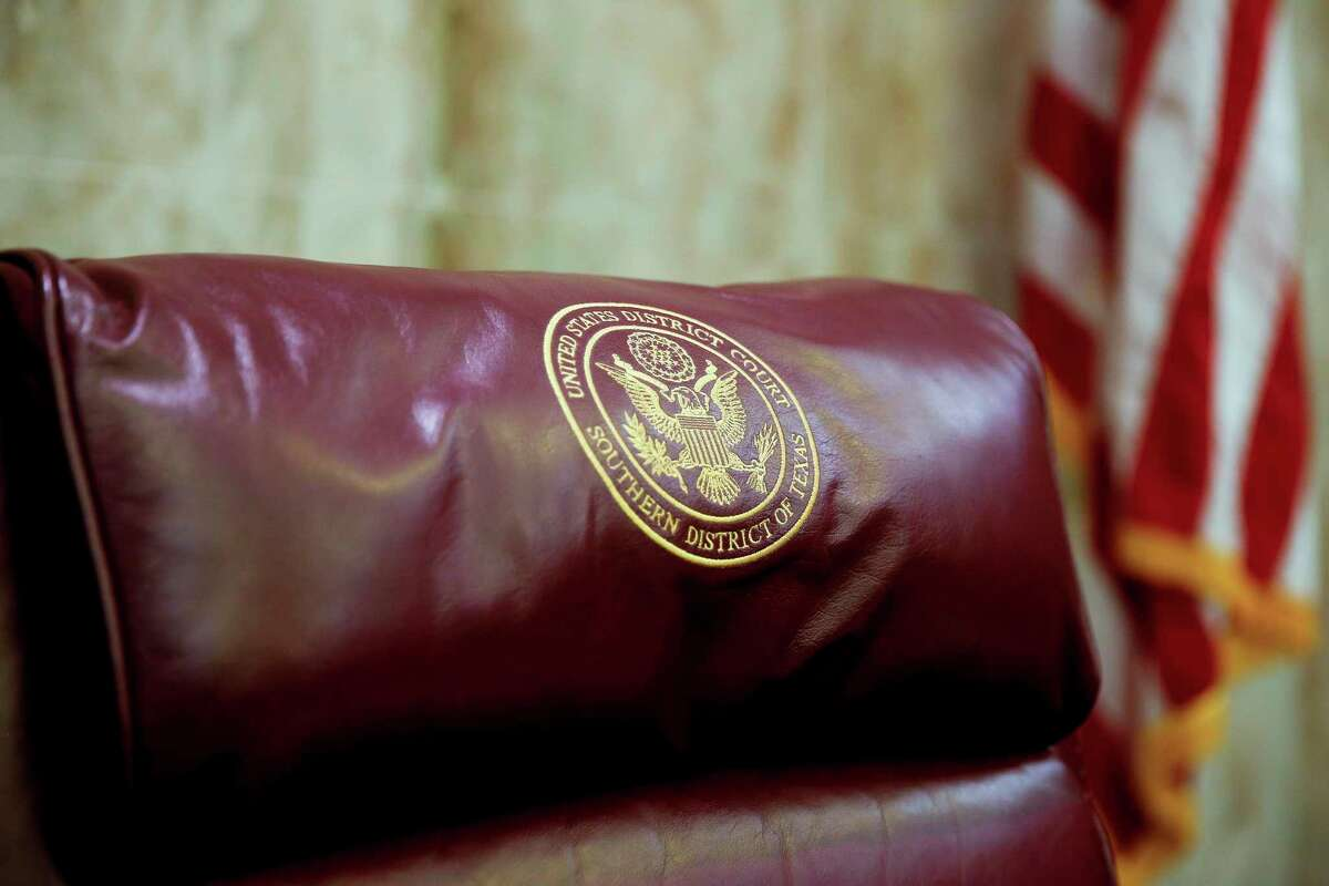 The seal for the United States District Court for the Southern District of Texas on a chair in the Federal Courthouse on Sept. 18, 2018 in Houston.