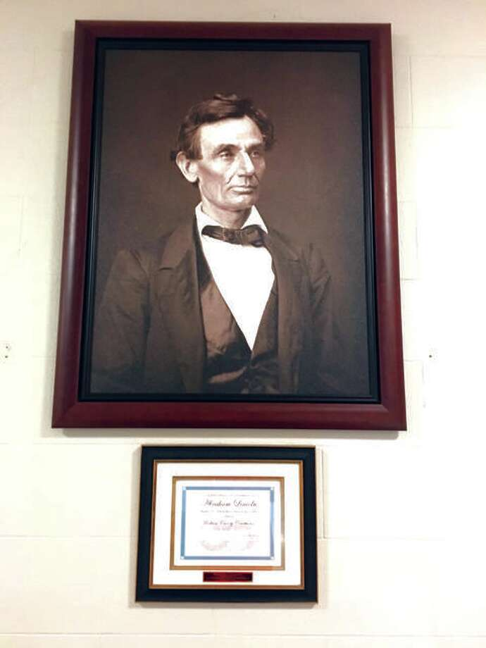 The portrait of Abraham Lincoln which now hangs on the west wall of the first floor of the Madison County Courthouse. Another portrait, this one at the county's Criminal Justice Center, will be unveiled at 10 a.m. Oct. 3. Photo: Bill Tucker | For The Telegraph