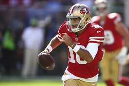 San Francisco 49ers quarterback Jimmy Garoppolo during the second half of an NFL football game against the Detroit Lions in Santa Clara, Calif., Sunday, Sept. 16, 2018. (AP Photo/Ben Margot)