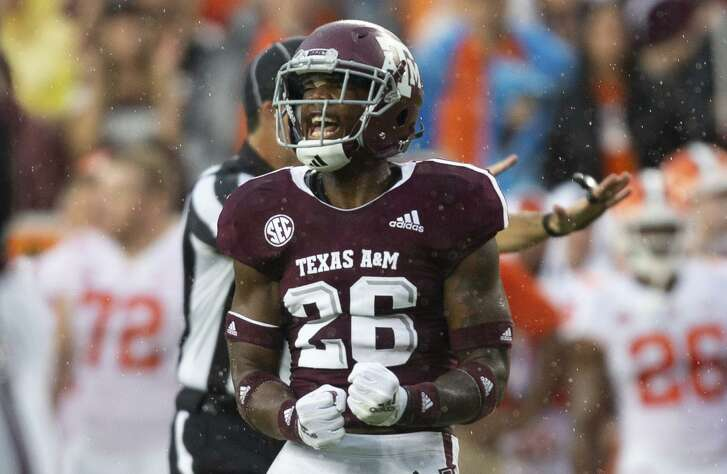 Texas A&M defensive back Deshawn Capers-Smith (26) reacts after a defensive stop against Clemson during the first half of an NCAA college football game Saturday, Sept. 8, 2018, in College Station, Texas. (AP Photo/Sam Craft)