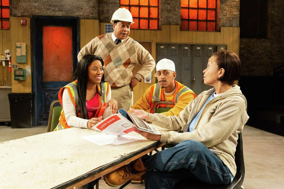 """Candice DMeza, David Rainey, Brandon J. Morgan and Lizan Mitchell in the Alley Theatres production of """"Skeleton Crew,"""" by Dominique Morisseau."""