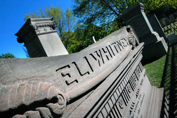 The grave marker of Eli Whitney at the Grove Street Cemetery in New Haven.