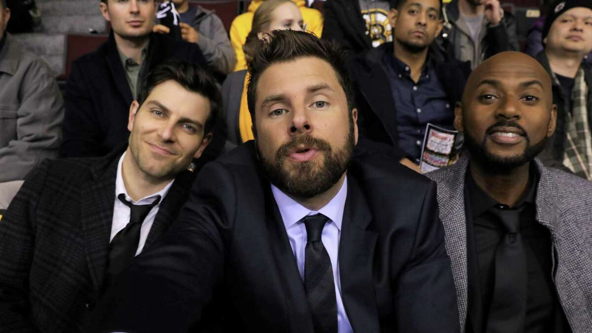 Gary (S.A. native James Roday), center, and friends Eddie (David Giuntoli), left, and Rome (Romany Malco) try to take the edge off their grief following a pal's suicide with a silly selfie taken at a Boston Bruins game in the premiere episode of
