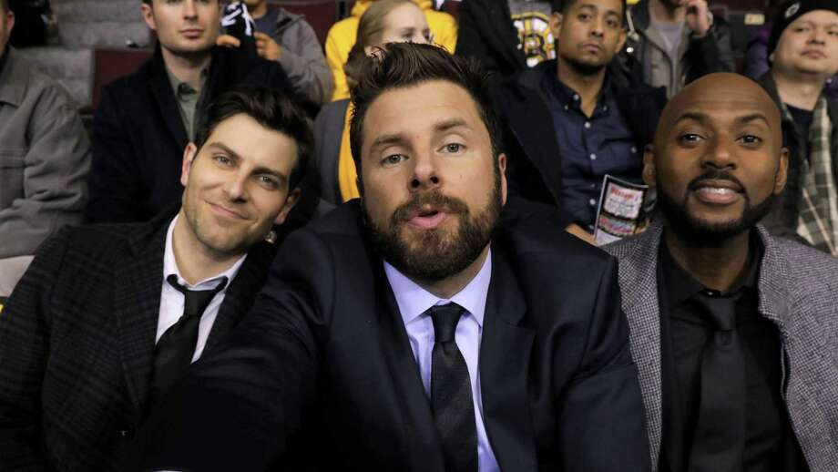 "Gary (S.A. native James Roday), center, and friends Eddie (David Giuntoli), left, and Rome (Romany Malco) try to take the edge off their grief following a pal's suicide with a silly selfie taken at a Boston Bruins game in the premiere episode of ""A Million Little Things,"" one of several new TV shows featuring Texas stars. Photo: ABC / © 2018 American Broadcasting Companies, Inc. All rights reserved."