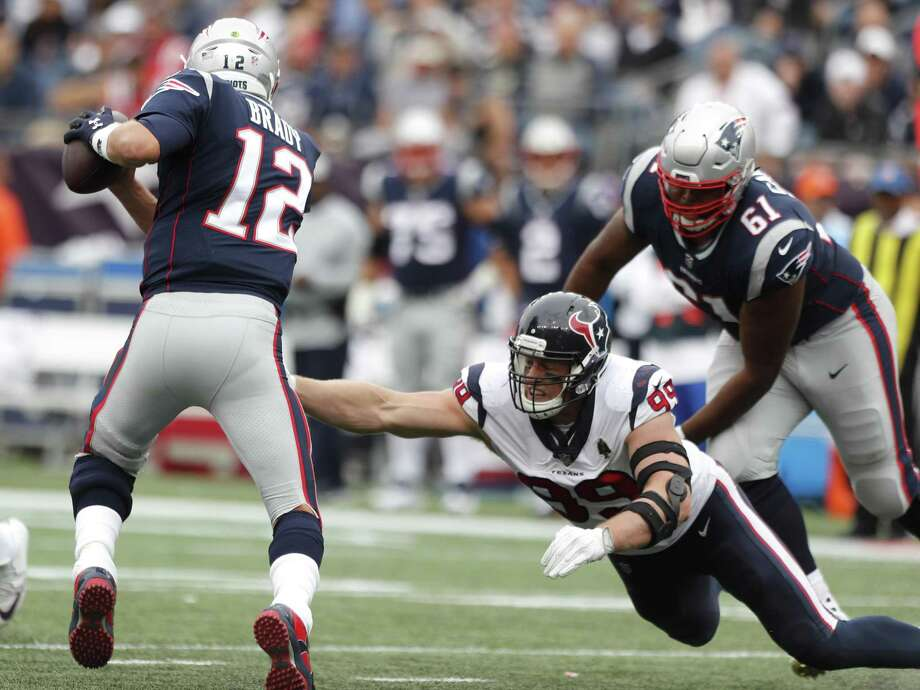 PHOTOS: John McClain's Week 3 predictions Patriots quarterback Tom Brady (12) eludes Texans defensive end J.J. Watt (99) in the season opener. Watt has yet to record a sack this season, and the Texans have totaled just three in their first two games. >>>See John McClain's picks for the third week of NFL action ... Photo: Brett Coomer, Houston Chronicle / Staff Photographer / © 2018 Houston Chronicle