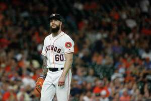 Houston Astros starting pitcher Dallas Keuchel (60) reacts during the first inning of an MLB baseball game at Minute Maid Park, Wednesday, September 19, 2018, in Houston.