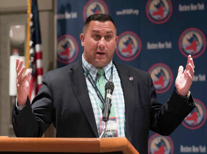 Saratoga County GOP Chair Carl Zeilman welcomes all the delegates to the New York State GOP convention at the Holiday Inn Friday March, 2 2018 Saratoga Springs, N.Y. (Skip Dickstein/Times Union)