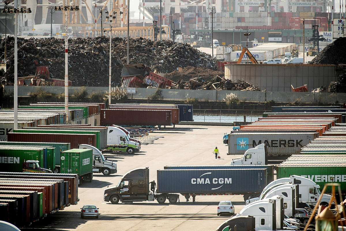 Trucks and shipping containers line the the Charles P. Howard Terminal, a proposed location for a new Oakland Athletics baseball stadium, on Monday, Sept. 17, 2018, in Oakland, Calif.