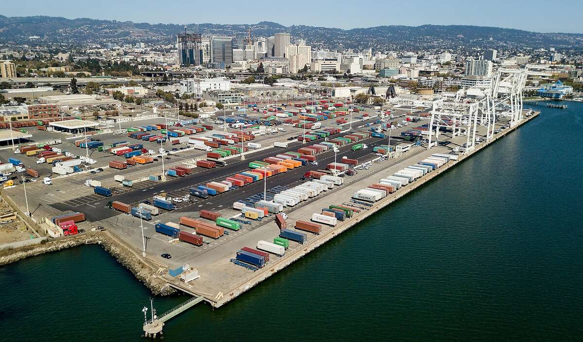 Shipping containers at Howard Terminal, a proposed location for a new Oakland Athletics baseball stadium.