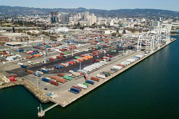 Shipping containers rest at the Charles P. Howard Terminal, a proposed location for a new Oakland Athletics baseball stadium, on Monday, Sept. 17, 2018, in Oakland, Calif.