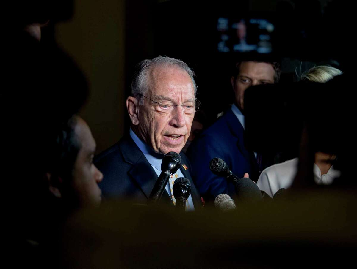 Senate Judiciary Committee Chairman Chuck Grassley, R-Iowa, speaks to reporters on Capitol Hill, Wednesday, Sept. 19, 2018, in Washington. Christine Blasey Ford wants the FBI to investigate her allegation that she was sexually assaulted by Supreme Court nominee Brett Kavanaugh before she testifies at a Senate Judiciary Committee hearing next week. (AP Photo/Andrew Harnik)