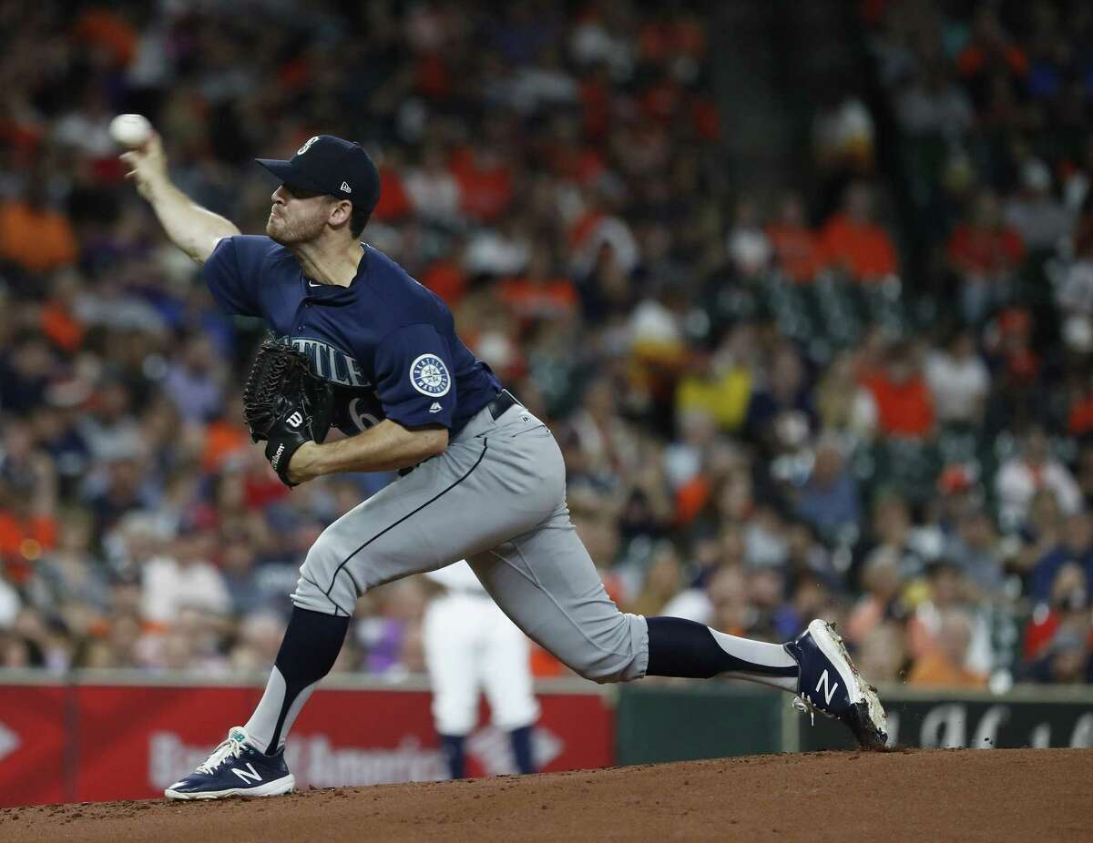 Seattle Mariners relief pitcher Matt Festa (67) pitches during the first inning of an MLB baseball game at Minute Maid Park, Wednesday, September 19, 2018, in Houston.