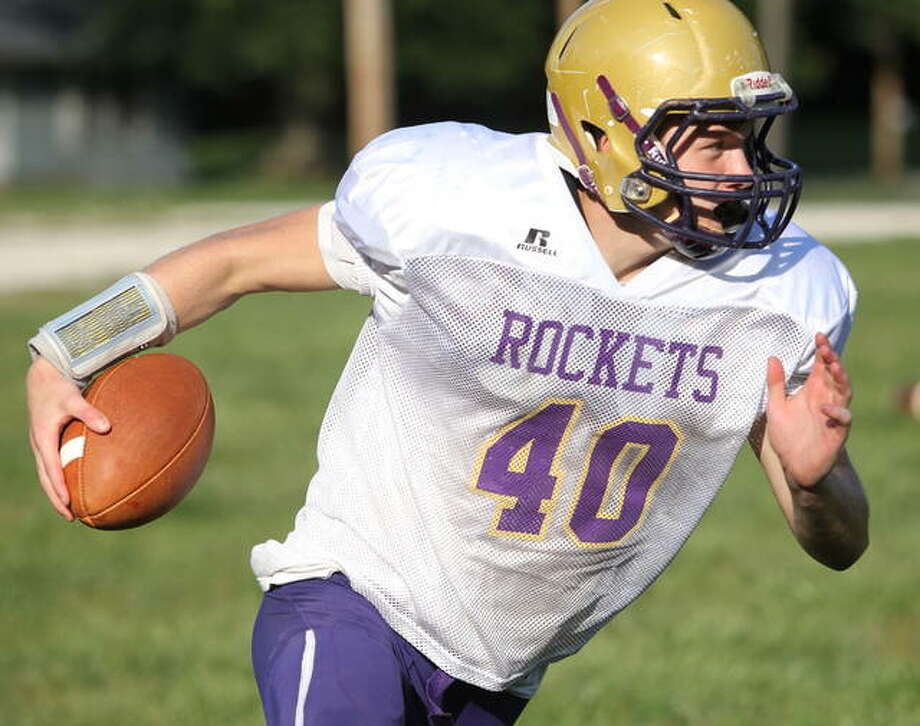 Routt's Dylan Marshall heads upfield during practice this week. Photo: Dennis Mathes | Journal-Courier