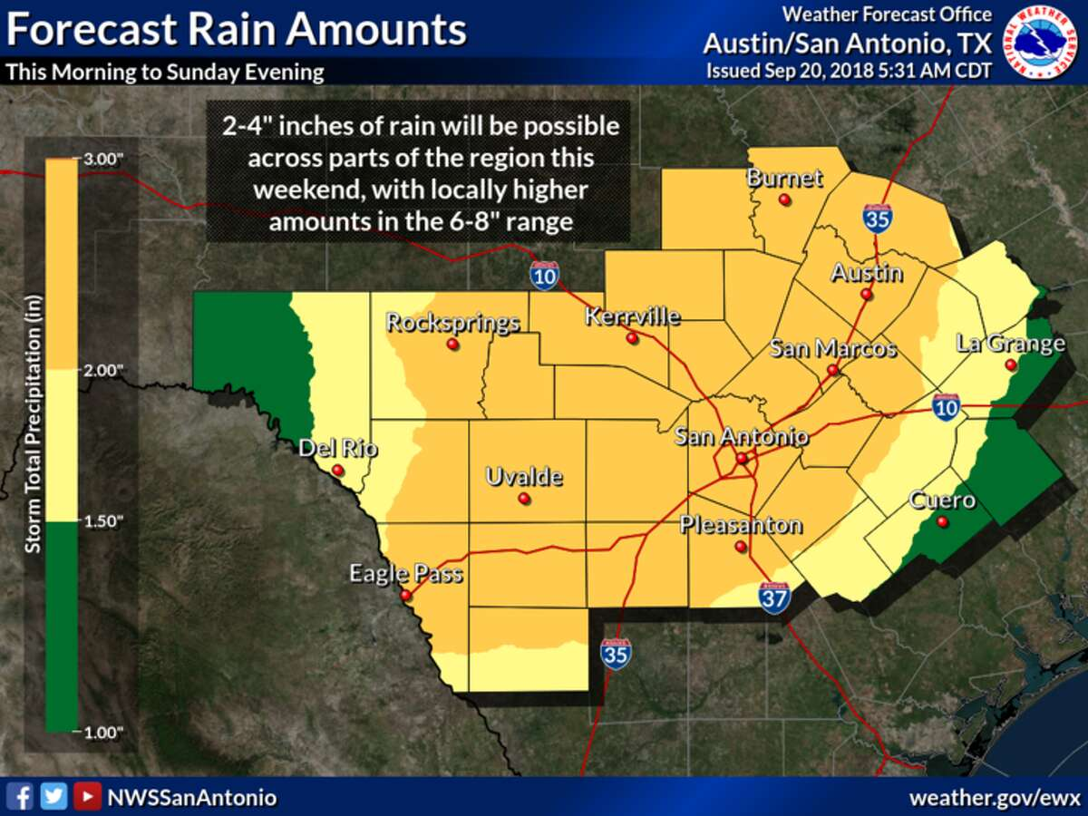 Isolated thunderstorms will pepper San Antonio Thursday before more sustained rainfall affects the area over the weekend, according to the National Weather Service.