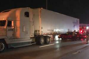 A man escaped serious injury after his car collided with an 18-wheeler on the Katy Freeway near Bunker Hill on Wednesday, Sept. 19, 2018.