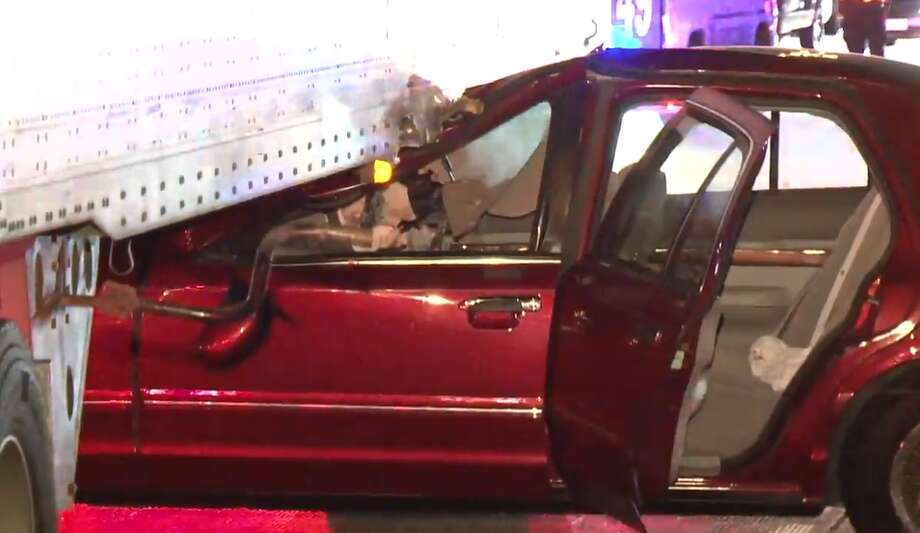 A man escaped serious injury after his car collided with an 18-wheeler on the Katy Freeway near Bunker Hill on Wednesday, Sept. 19, 2018. Photo: Metro Video