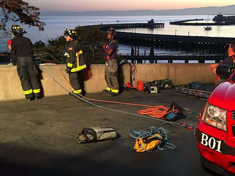 The San Francisco Fire Department responded to reports early Thursday of two people stuck on a cliff and another person in the water near Aquatic Park, officials said. Photo: San Francisco Fire Department