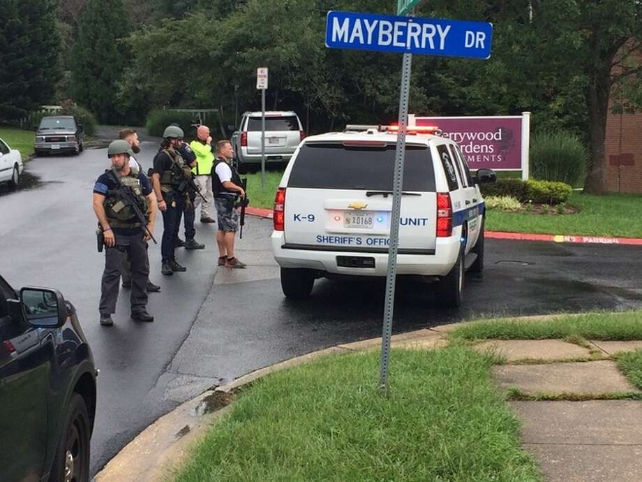 There are multiple victims of a shooting Thursday morning in a business area in Aberdeen, Md., Harford County Sheriff's Office officials said. Photo: WBAL-TV\Julian Ingram