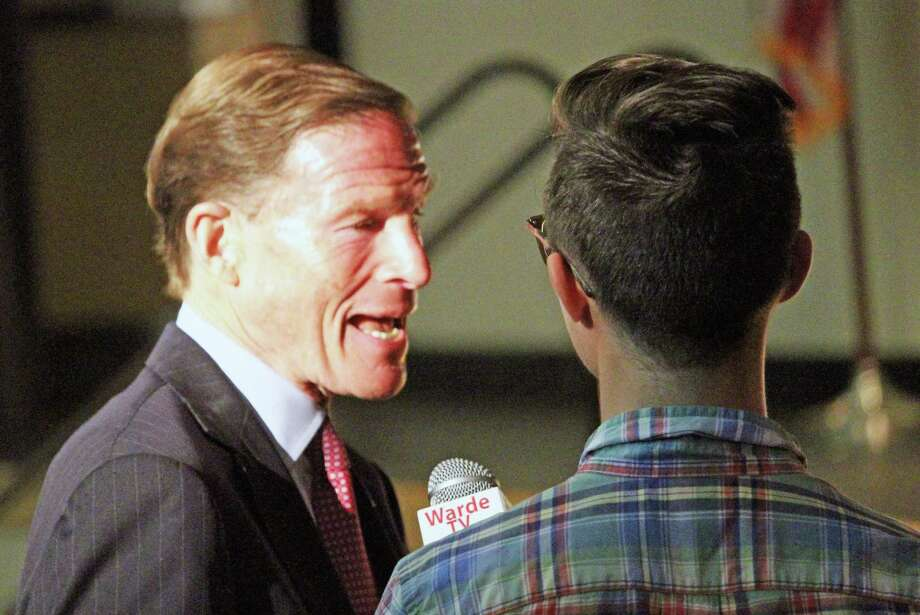 U.S. Sen. Richard Blumenthal is interviewed for Warde TV before taking part in the Constitution Day Town Hall at Fairfield Ludlowe High School Monday. Fairfield,CT. 9/17/18 Photo: Genevieve Reilly / Hearst Connecticut Media / Fairfield Citizen