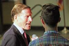 U.S. Sen. Richard Blumenthal is interviewed for Warde TV before taking part in the Constitution Day Town Hall at Fairfield Ludlowe High School Monday. Fairfield,CT. 9/17/18
