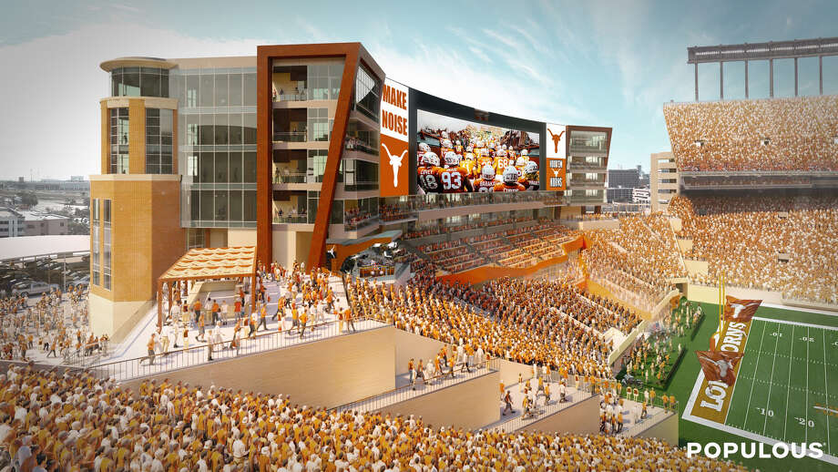 Artist rendering of the Royal-Memorial Stadium south end zone expansion and renovation. Photo: University Of Texas