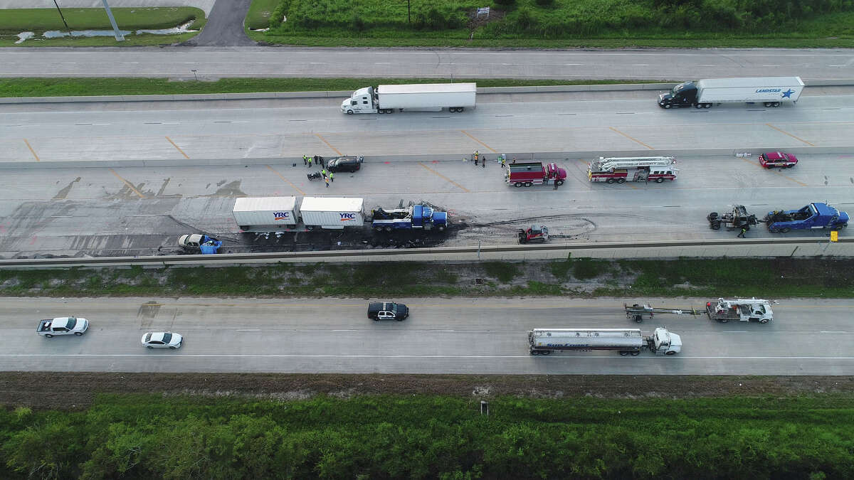 Three people were killed on Interstate 10 early Thursday morning after a wreck in the east bound lanes occurred. Several cars caught fire and a hazard material crew was called to the area. An additional wreck occurred that morning further west on the highway were one person was also killed. Photo taken Thursday, 9/20/18