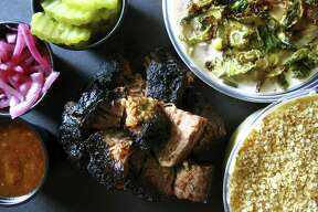 Angus brisket burnt ends with creamed corn and mac and cheese from Black Board Bar B Q on Sisterdale Road outside Boerne.