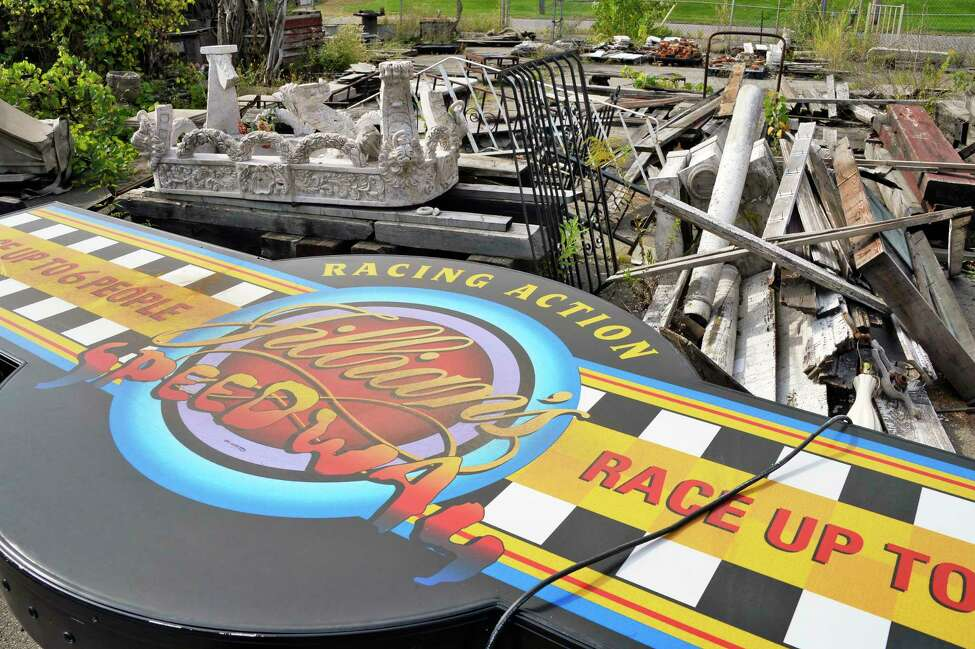 A large sign in the yard at Silver Fox Salvage as it prepares to go out of business after more than a dozen years Thursday Sept. 20. 1018 in Albany, NY. (John Carl D'Annibale/Times Union)