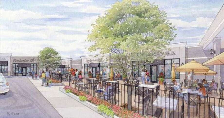A watercolor mockup of a revamped Eastgate Plaza shows a hair salon, bike shop, frozen custard shop and a few restaurants with outdoor seating, just some of the types of retail businesses new owner Todd Kennedy and his ownership group hope to attract to the East Alton shopping center. Photo: For The Telegraph