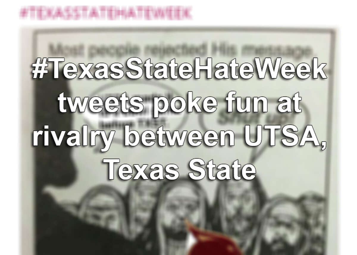 UTSA students have been using the hashtag #TexasStateHateWeek ahead of its 'I-35' showdown football game against Texas State University. Click ahead to see students' memes and banter.