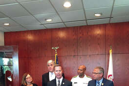 Federal Government officials held a roundtable meeting at Addiction Treatment Strategies in Edwardsville to discuss the regional efforts to combat the opioid crisis. Pictured left to right are Assistant Secretary Elinore McCance-Katz, Substance Abuse and Mental Health Services Administration; Deputy Secretary Eric Hargan, U.S. Department of Health and Human Services; Rep. Rodney Davis, R-Taylorville; U.S. Surgeon General Jerome Adams; and Rep. Mike Bost, R-Murphysboro.