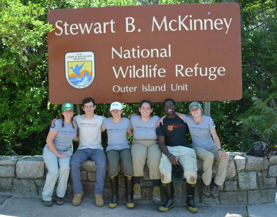 The NorthWoods Stewardship Center youth crew stationed at Stewart B. McKinney National Wildlife Refuge. Pictured are crew leaders Casie Mattox and Jessica Ciarcia and Crew Members Kyle Gagliardi, Julia Sultini, Isobel Browe and Ihsan Abdussabur. Photo: Courtesy Of NorthWoods Stewardship Center