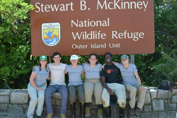 The NorthWoods Stewardship Center youth crew stationed at Stewart B. McKinney National Wildlife Refuge. Pictured are crew leaders Casie Mattox and Jessica Ciarcia and Crew Members Kyle Gagliardi, Julia Sultini, Isobel Browe and Ihsan Abdussabur.