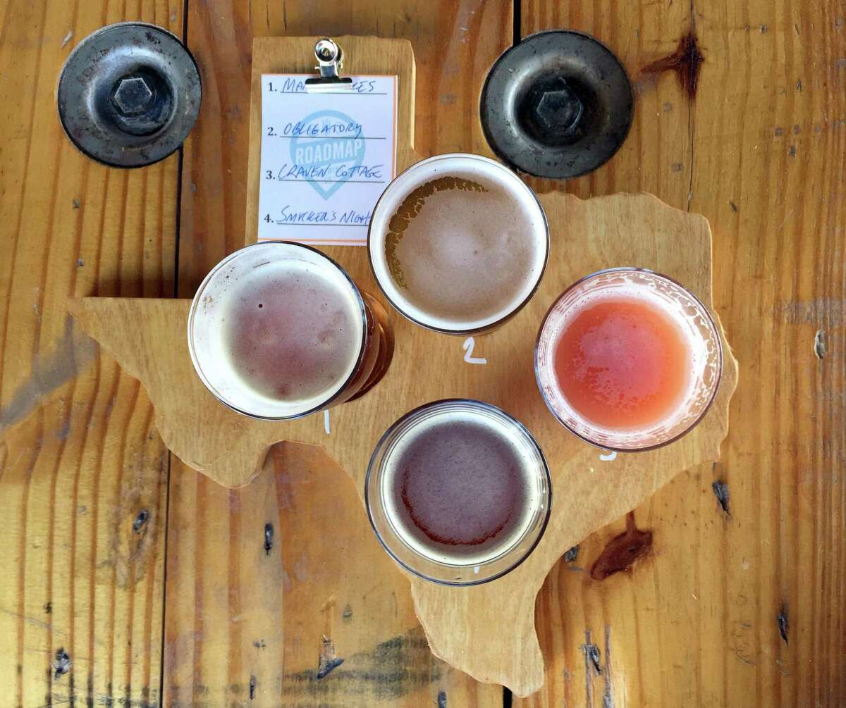 A flight of beers from the new Roadmap Brewing Co. at 723 N. Alamo St.