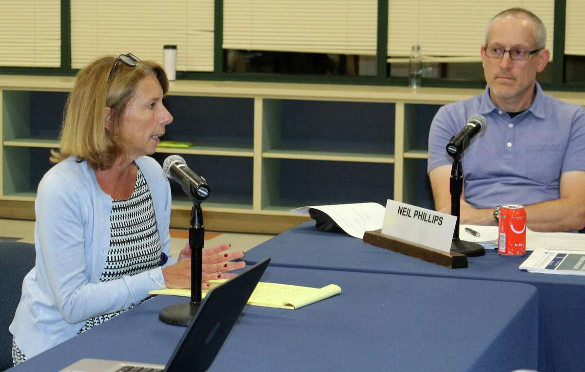 Westport Public Schools Supervisor of Health Services Suzanne Levasseur, left, is shown in this file photo.