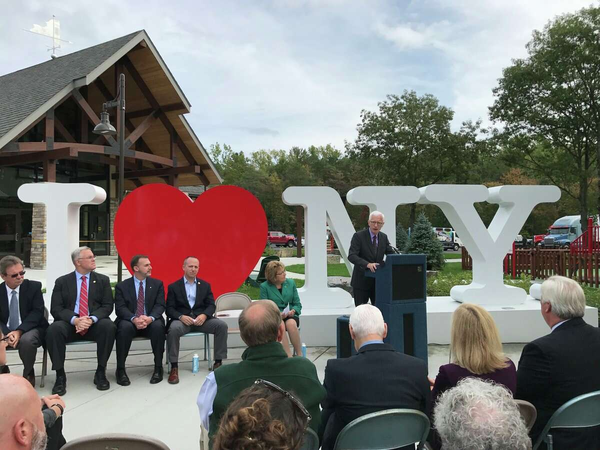A ceremony opens the Adirondacks Welcome Center rest area on the Northway in Warren County on Thursday, Sept. 20, 2018. (NYS Department of Transportation)