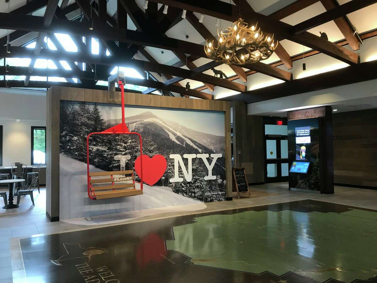Selfie area with a decommissioned Gore Mountain gondola at the Adirondacks Welcome Center rest area on the Northway in Warren County on Thursday, Sept. 20, 2018. (NYS Department of Transportation)