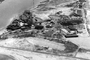 A 1955 aerial view of Pleasure Beach in Bridgeport.