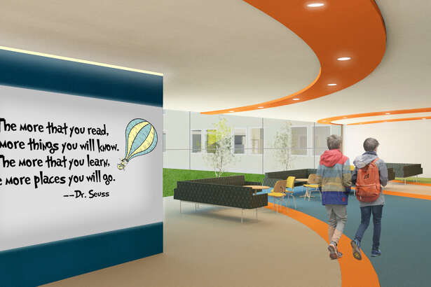"Afton Beattie's design, ""Reinventing the Classroom: Creating a Middle School that Meets Today's Pedagogy,"" won an award from the New York Upstate/Canada East chapter of the American Society of Interior Designers. The common room is shown here. (Provided by Afton Beattie)"